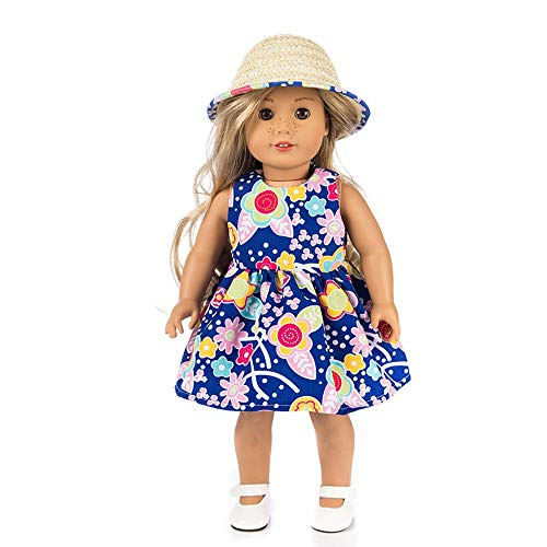 - Gbell 18 inch Doll Beautiful Outfit Mini Skirt Hat for Our Generation American Girl Doll Clothes, Doll Accessories (J)