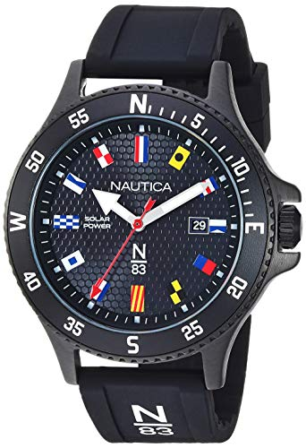 Nautica N83 Men's NAPCBS907 Cocoa Beach Solar Black/Flags Silicone Strap Watch
