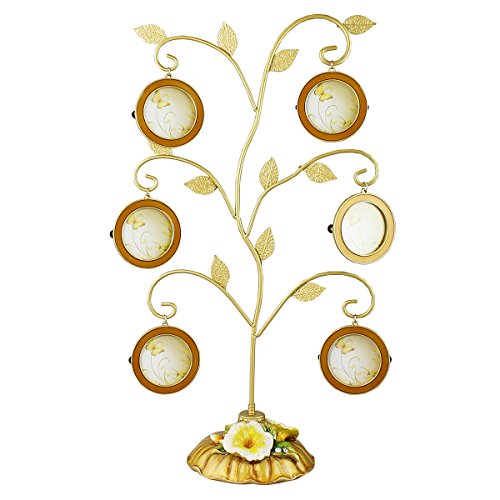 JewelryNanny Family Heritage Tree Picture Frame Gold Leaves 6 Frames Removable Multipurpose 15