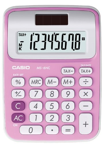 Casio MS-6NC-PK Bolsillo Basic calculator Rosa - Calculadora (Bolsillo, Calculadora básica, 8 dígitos, 1 líneas,...