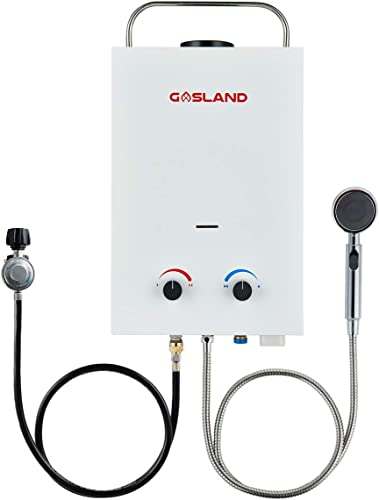 Tankless Water Heater, GASLAND Outdoors BS158 1.58GPM 6L Portable Gas Water Heater, Instant Propane Water Heater, Overheating Protection, RV Camping Water...