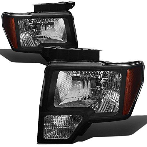 For Ford F-150 12th Gen Pair of Black Housing Amber Corner Headlight Lamps Lighting Kit