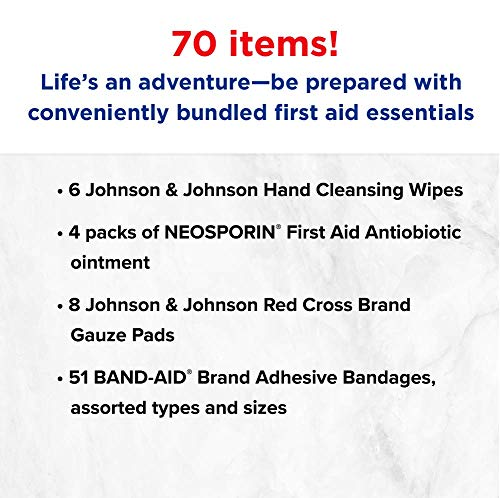 51f2eVzV5tL - Johnson & Johnson Brand Safe Travels Portable First Aid Kit for Minor Wound Care with Assorted Adhesive Bandages, Ideal for Travel, Car & On-the-Go, 70 pieces