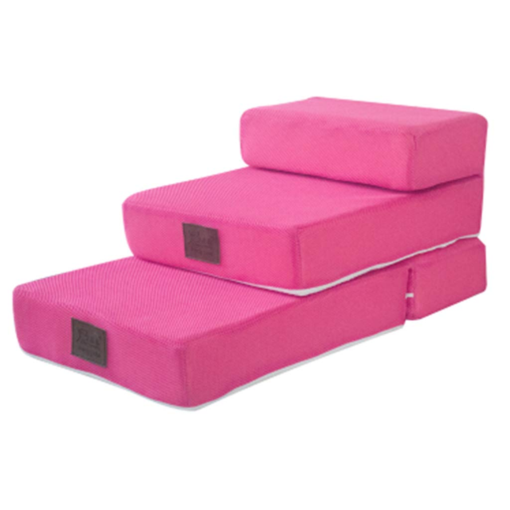 PINK Pet Sofa Stairs for Small Dogs Cats 3 Step, Doggie Step Ladder for Bed Couch, 68×40×30cm (color   Pink)