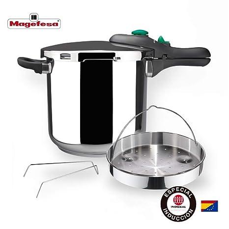 MAGEFESA Dynamic Olla a presión Super rápida de fácil Uso, Acero Inoxidable 18/10, Apta para Todo Tipo de cocinas, Incluido inducción. Pack Exclusivo ...