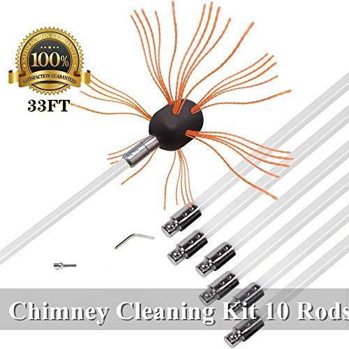 Big Save! SKYSP Flexible Chimney Sweep Kits 33Foot Long Lifespan Chimney Brush Electrical Drill Drive(10 rods)