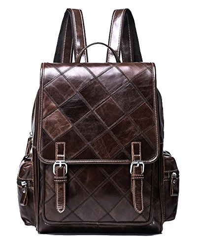 VM FASHION KISS Zipper&hasp Casual Crazy Horse Genuine Leather Backpack vintage Bag by VM FASHION KISS (Image #7)'