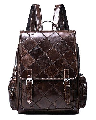 VM FASHION KISS Zipper&hasp Casual Crazy Horse Genuine Leather Backpack vintage Bag by VM FASHION KISS