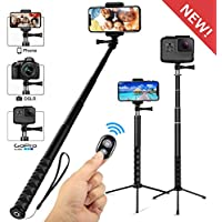 Wsky Wireless Extendable Selfie Stick Tripod W/ Remote Action Camera (Black)