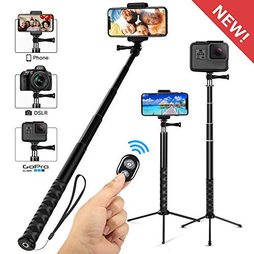 Whlzd Selfie Stick Tripod, 46 Inch Extendable Bluetooth Selfie Stick Tripod with Wireless Remote, Compatible Monopod for iPhoneX/8/8Plus/7/GalaxyS9/S9Plus/Note8/S8Plus/GoPro/DSLR Cameras(Black)