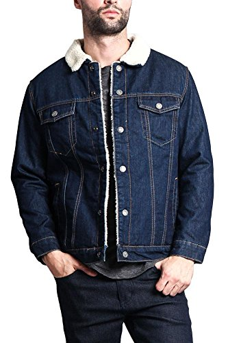 Classic Sherpa Faux Shearling Heavyweight Denim Work Jacket - DK105 - Blue - Small - T11E