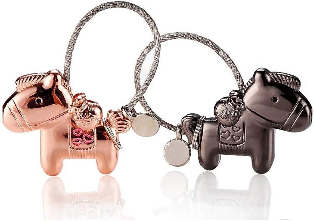 Llaveros de amante de forma de caballo, 1 par de aleación de zinc Llaveros con boca magnética, regalo de llavero de pareja para cumpleaños, boda, Navidad, color negro y oro rosa