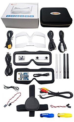 Skyzone SKY02S V+ 5.8G 40CH 3D FPV Goggles w/Transmitter Camera Head Tracking HDMI DVR (Free ARRIS Battery Straps)