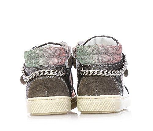 NERO GIARDINI - Baskets gris argenté à lacets, en synthétique et suède, nuance rouge et verte, fille,filles,enfant,femme