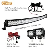 SLDX 288w 50inch Off Road Curved Combo Led Light Bar 2pcs 18w Spot Light Bar Free Wiring Harness