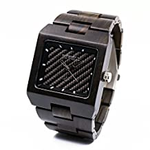Bewell Wood Watch Square Shape Business Style Wristwatch for Men