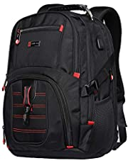 Yuheng Extra Large Backpack [Water-Resistant, High-capacity, for 17.3 Inch Laptop, with USB Charging Port] Men Women for Travel Business Hiking School Bag Black