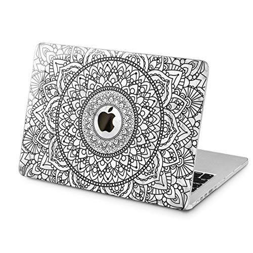 Rubberized White Flowers Design - Lex Altern Hard MacBook Pro 15 Case Air 13 inch Mac Retina 12 11 2019 2018 2017 2016 2015 White Marble Cover Design Mandala Flower Touch Bar Henna Print Boho Protective Laptop Apple Tribal Women