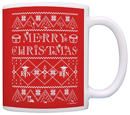 Christmas Gift for Nurse Ugly Xmas Sweater Nursing RN Graduate Gift Coffee Mug Tea Cup (Yeti Christmas Sweater)