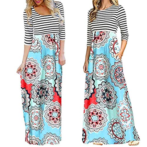aliveGOT Women's Striped Floral Print Long Sleeve Tie Waist Maxi Dress with Pockets (Light Blue, L) by aliveGOT (Image #1)