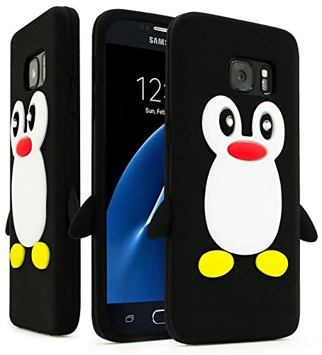Samsung Galaxy S7 Case, Bastex Black and White Silicone Flexible Penguin Character Case Cover for Samsung Galaxy S7