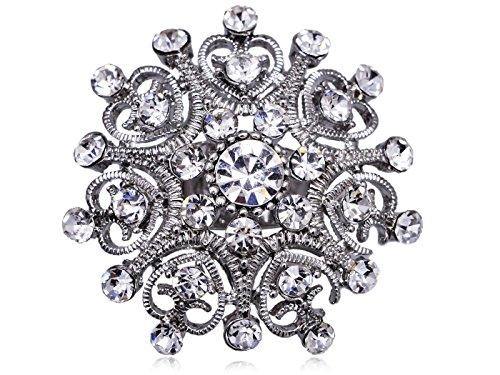 - Alilang Heart Statement Snowflake Cutout Fashion Clear Crystal Rhinestone Cocktail Ring