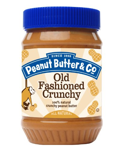 Peanut Butter & Co. Peanut Butter, Non-GMO, Gluten Free, Vegan, No Sugar Added, Old Fashioned Crunchy, 16 Ounce Jars (Pack of (Butter Gluten Free)