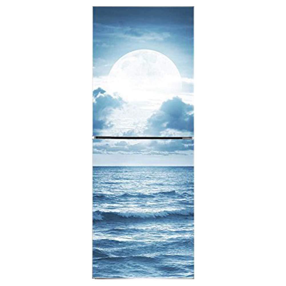 Izzya Frigo/Parete Autoadesiva Etichetta Immagine di Moonlight sopra L'oceano Vivido Immagine Removibile Personalizzazione A Disposizione, 60 * 150Cm