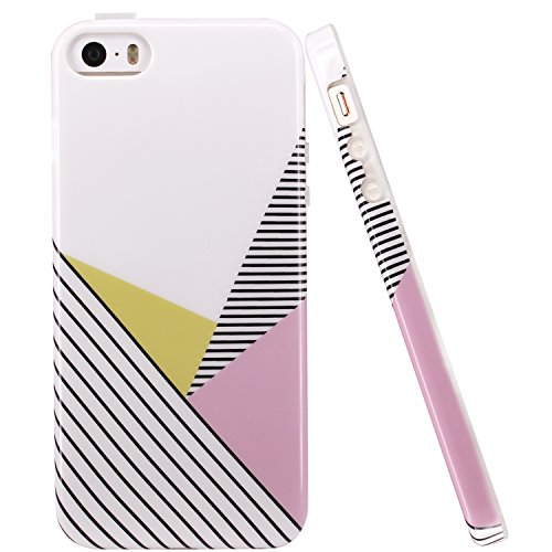 iPhone 5 Case,iPhone 5s case, LUOLNH IMD Design With Fabulous Glossy Geometry Pattern Flexible Soft TPU Rubber Silicone Skin Cover Case for iPhone 5/ 5s/ SE (Iphone Silicone Rubber Skin Cover)