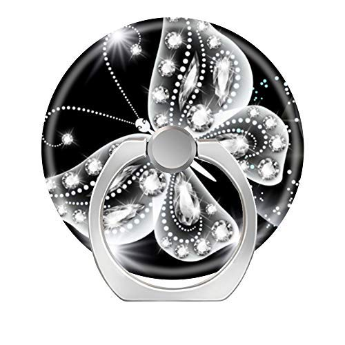(LoveStand-Cell Phone Ring Holder 360 Degree Finger Ring Stand for Smartphone Tablet and Car Mount-Black White Sparkles Butterfly Glitter)