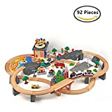 O-Toys 92pcs Wooden Car Track Toys for Kids Fun Railway Construction Toy Mountain Train Set Pretend Playset Games (Police Fire Fighter Hospital)