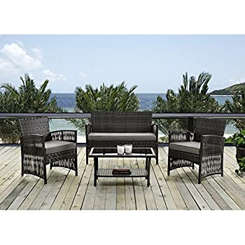 IDS Home MLM 16403 Brown Color Patio Furniture Coversation Set With Glass  Coffee Table