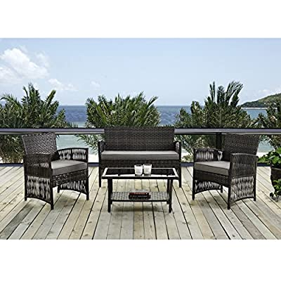 IDS Home 4 Piece Brown Pattio Furniture Wicker Conversation Set, Loveseat & 2 Cushion Chairs, Glass Coffee Table for… - Great Compact outdoor rattan patio furniture item set perfect for your garden or lawn Brand new and high quality Strong steel frame and all rattan wicker; single seat can hold up to 100kg weight and loveseat is 200kg Cushions are waterproof, easy cleaning, simple to clean - patio-furniture, patio, conversation-sets - 51f2hDs6YwL. SS400  -