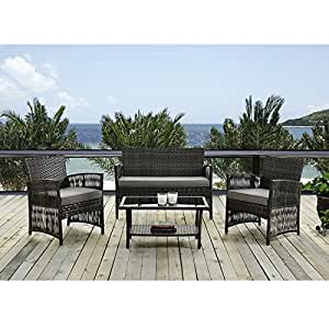 Patio Furniture Dining Set 4 PCS Garden Outdoor Indoor Furniture Set Rattan  Wicker Brown Cushion Cover