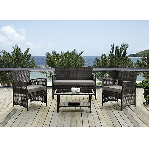 IDS Home 4 PCS Cushioned Compact Outdoor Rattan Wicker Patio Set Garden Lawn Sofa Furniture Seat Brown with white/brown cushions