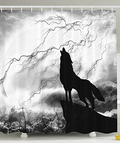 Ambesonne Black Wolf Silhouette Howling Thunderstorm Full Moon Light Mystic Night Gray White and Black Monochrome Scary Scene Art Decorations Charcoal Bathroom Decor Polyester Fabric Shower Curtain