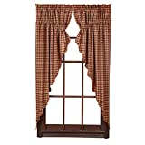 VHC Brands Classic Country Primitive Window Curtains - Check Red Scalloped Prairie Curtain Pair, Burgundy