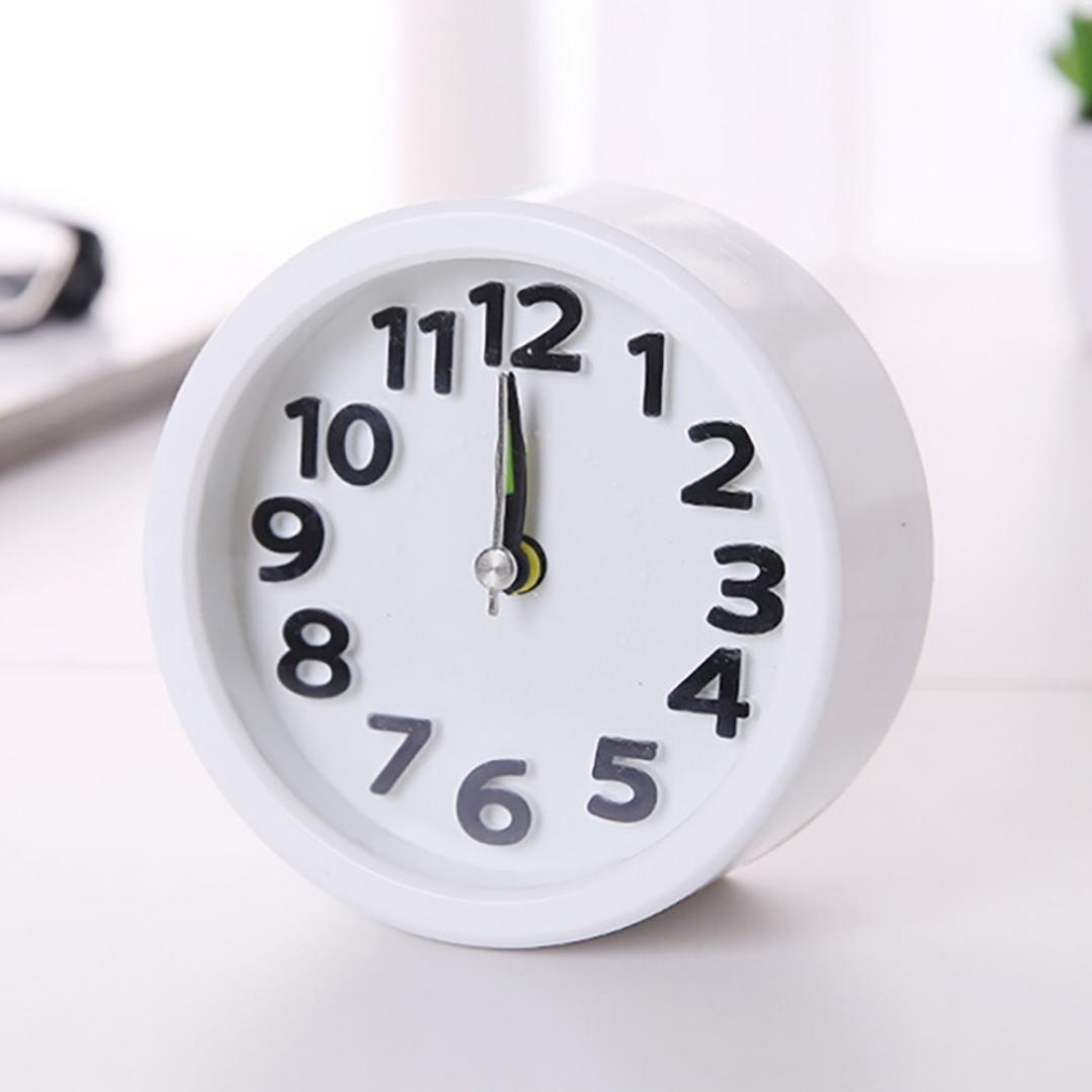 LiPing 3.6'' Exquisite Digital Sunrise Alarm Clock - Circular Small Bed Compact Travel Quartz Beep Alarm Clock Cute Portable (White)