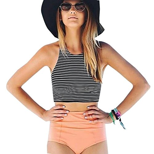 Blooming Jelly Striped Bathing Tankini