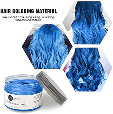 Volluck Blue Colored Hair Wax Pomades 4 23 Oz Disposable Natural Hair Styling Clays Ash Easy Cleansing Matte Hairstyle Coloring Materials For Show Party And Cosplay