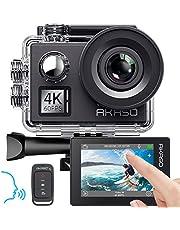 AKASO Actiecamera, 4K/60fps, actiecamera, 20MP, wifi, met touchscreen, EIS 40M onderwatercamera, V50 Elite met 8X zoom, spraakbesturing, afstandsbediening, accessoires, kit sportcamera