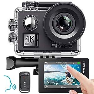 Caméra Sport 4K 60fps 20MP AKASO WiFi Télécommande Commande Vocale Ecran Tactile EIS Caméra Sportive Etanche sous Marine…