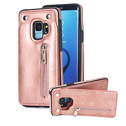 Price comparison product image Vertical Up Down Open Case for Samsung Galaxy S9, Aearl Premium PU Leather Back Flip Zipper Wallet Card Holder Purse Cover Magnetic Buckle Kickstand Protective Shell for Samsung Galaxy S9 - Rose Gold