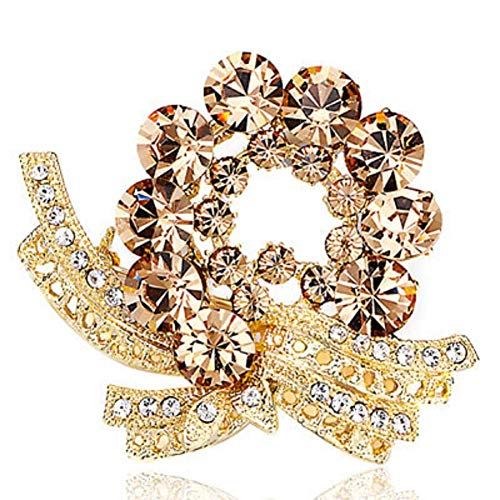 Chris Johnsons Vintage Flower Simulated Crystal Brooches and Pins for Women Girls (Flower 1)