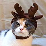 Jocestyle Holiday Antler Headband Pet Dog Cat Hat Puppy Christmas Holiday Cosplay Costume Coffee (Style A)