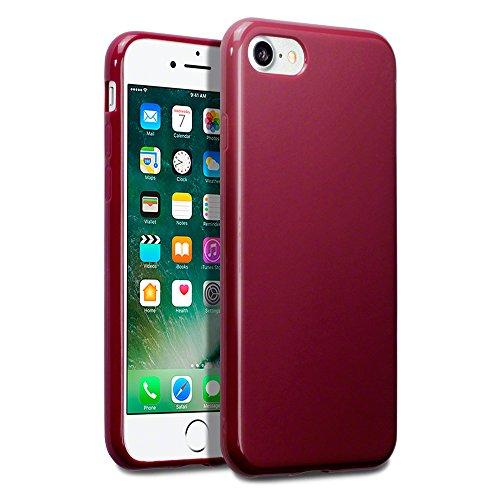 iPhone 7 Funda Protectiva de Silicona Gel TPU estrecha - Rojo oscuro acabado mate