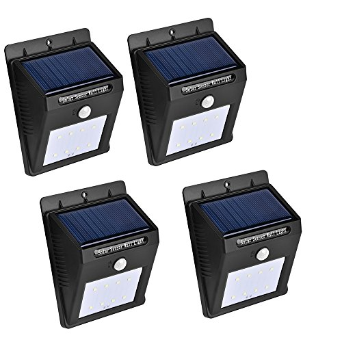ConPush Solar Lights 8 LED White Light Waterproof Infrared Body Motion Sensor Outdoor Lights For Garden, Yard, Patio-4 Packs by ConPush