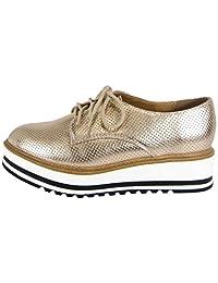 Soda Women's Lace Up Platform Wedge Oxford Shoe