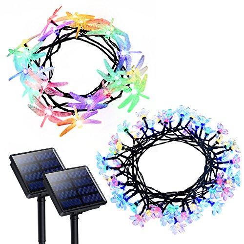 Litom Solar String Lights 50 LED Peach Blossom & 20 LED Dragonfly Shape with 8 Working Modes, Multi-Color Solar Lights Outdoor Waterproof Decorative Light for Patio Lawn Wedding Christmas Party
