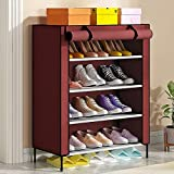 Xomox Multipurpose Portable Folding Shoes Rack 4 Tiers Multi-Purpose Shoe Storage Organizer Cabinet Tower with Iron and Nonwoven Fabric with Zippered Dustproof Cover (Maroon)